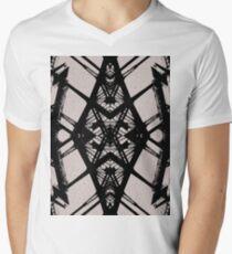 Art Deco Iron Bridge Black and Grey Men's V-Neck T-Shirt