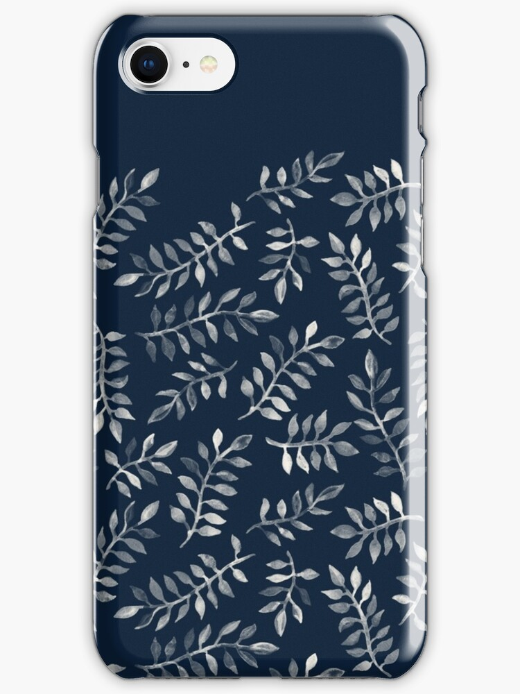White Leaves on Navy - a hand painted pattern by micklyn