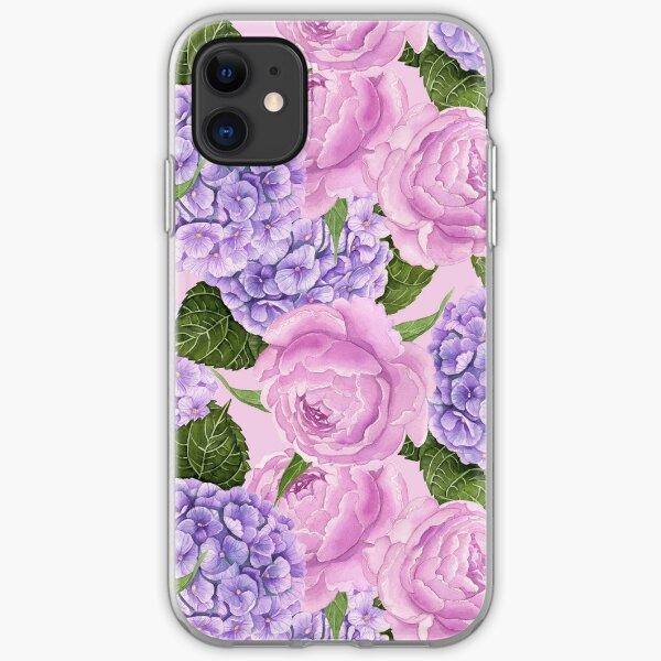 Hydrangea and peony pattern iPhone Soft Case