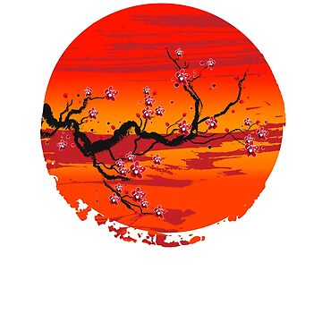 Bonsai Tree Rising sun Japanese Zen Unisex T-Shirt by BKLS