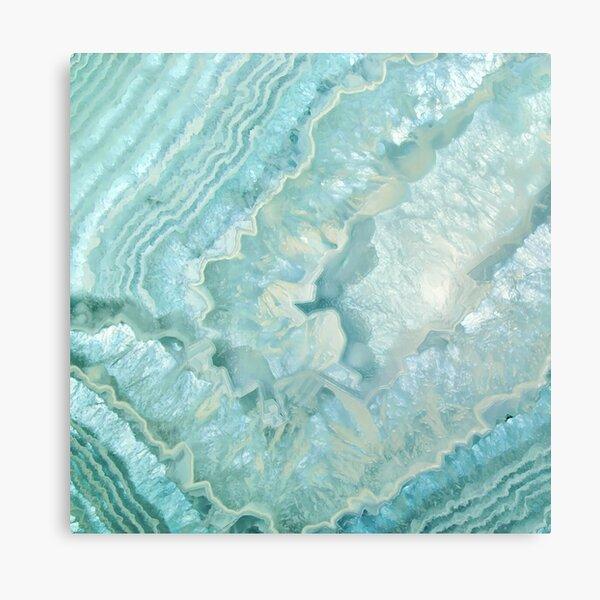 """Aquamarine Pastel and Teal Agate Crystal"" Canvas Print"