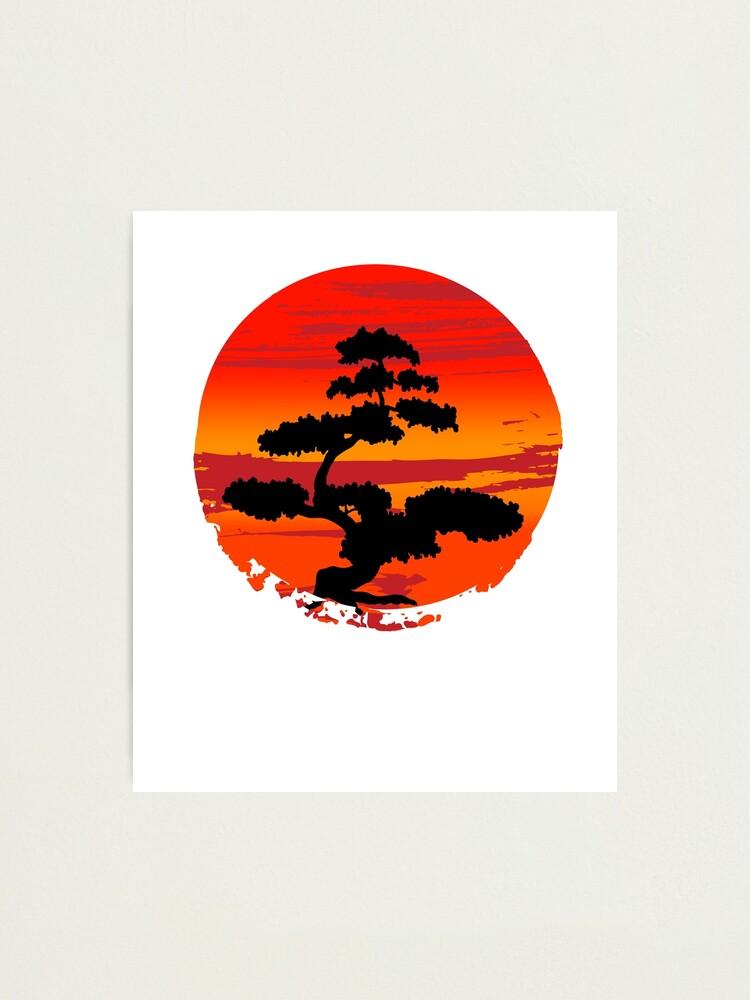 Bonsai Tree Rising Sun Japanese Zen Unisex T Shirt Photographic Print By Bkls Redbubble