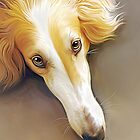 Borzoi in Repose - Cream Collection by Sally Fricker