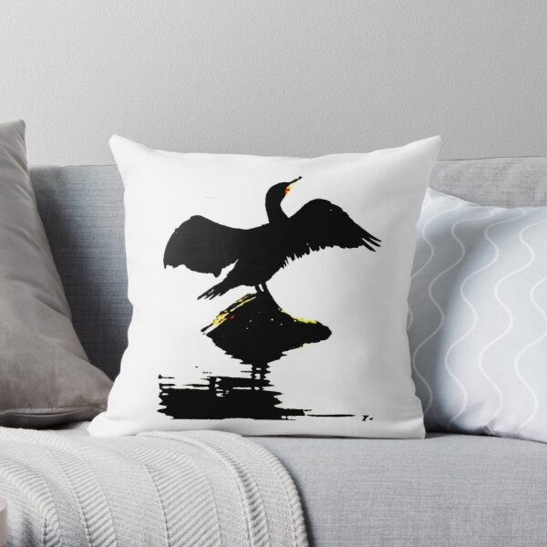 Cormorant wings open Throw Pillow