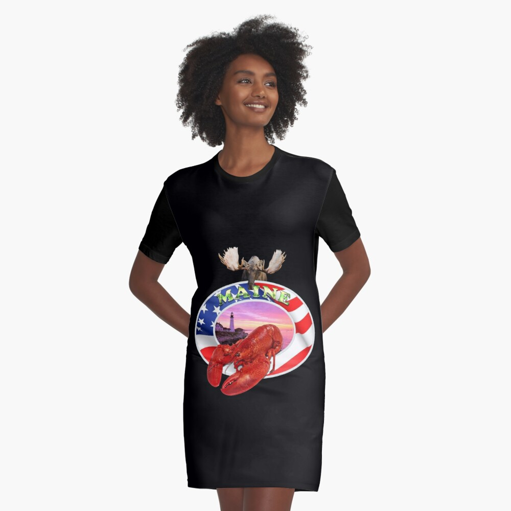 Maine Lobster Logo Graphic T-Shirt Dress Front