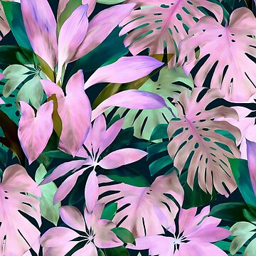 Tropical Night Magenta & Emerald Jungle by micklyn
