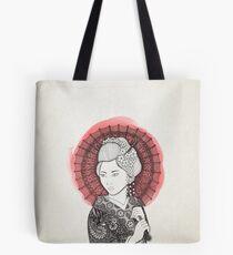 Bandera japonesa y geisha Bolsa de tela