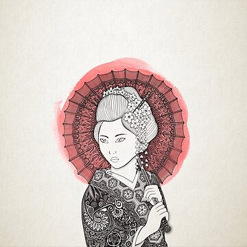 Japanese flag and Geisha by artetbe