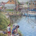 Family Fishing at Eling Tide Mill Hampshire by martyee