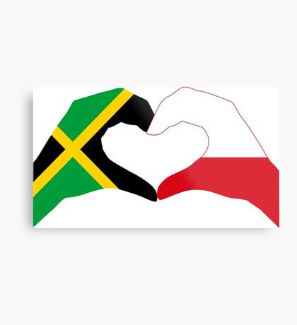 We Heart Jamaica and Poland Patriot Flag Series Metal Print
