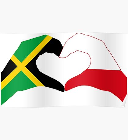 We Heart Jamaica and Poland Patriot Flag Series Poster