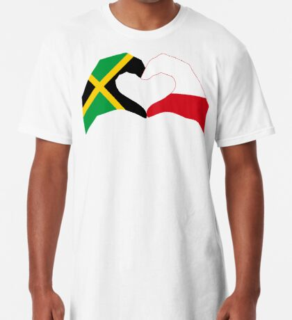 We Heart Jamaica and Poland Patriot Flag Series Long T-Shirt