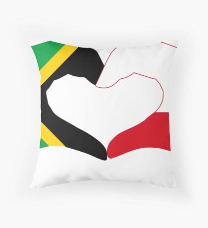 We Heart Jamaica and Poland Patriot Flag Series Throw Pillow