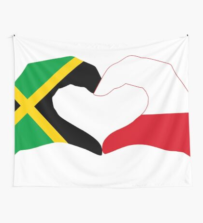 We Heart Jamaica and Poland Patriot Flag Series Wall Tapestry