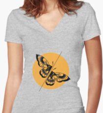 Geometric split Moth Women's Fitted V-Neck T-Shirt