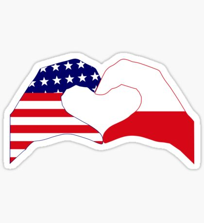 We Heart U.S.A. & Poland Patriot Flag Series Sticker