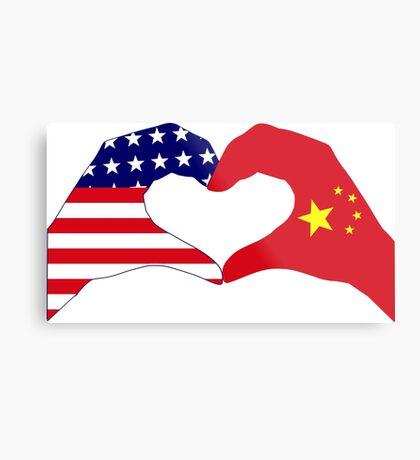 We Heart U.S.A. and China Patriot Flag Series Metal Print