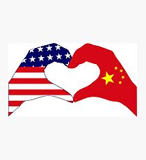 We Heart U.S.A. and China Patriot Flag Series Photographic Print