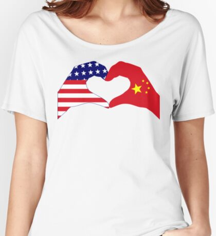We Heart U.S.A. and China Patriot Flag Series Relaxed Fit T-Shirt