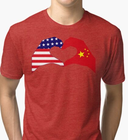 We Heart U.S.A. and China Patriot Flag Series Tri-blend T-Shirt