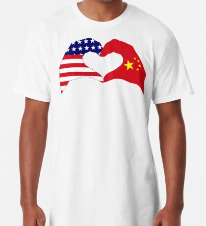 We Heart U.S.A. and China Patriot Flag Series Long T-Shirt