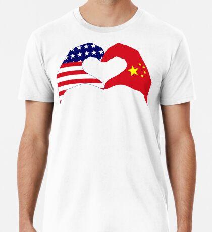 We Heart U.S.A. and China Patriot Flag Series Premium T-Shirt