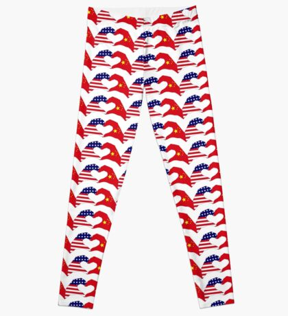 We Heart U.S.A. and China Patriot Flag Series Leggings