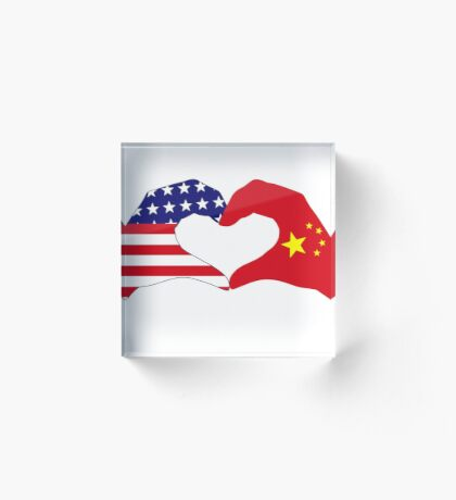 We Heart U.S.A. and China Patriot Flag Series Acrylic Block