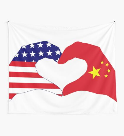 We Heart U.S.A. and China Patriot Flag Series Wall Tapestry