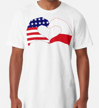 We Heart U.S.A. & Poland Patriot Flag Series Long T-Shirt