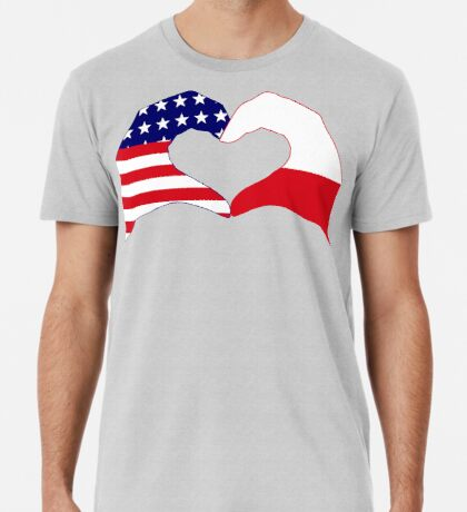 We Heart U.S.A. & Poland Patriot Flag Series Premium T-Shirt