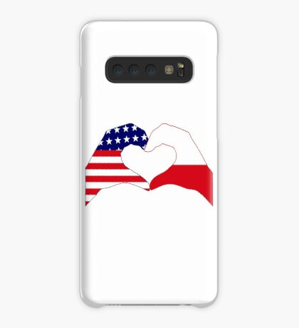 We Heart U.S.A. & Poland Patriot Flag Series Case/Skin for Samsung Galaxy