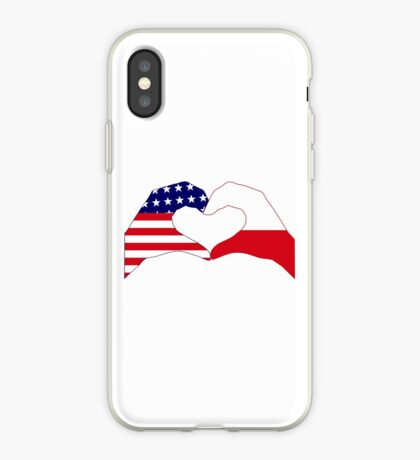 We Heart U.S.A. & Poland Patriot Flag Series iPhone Case