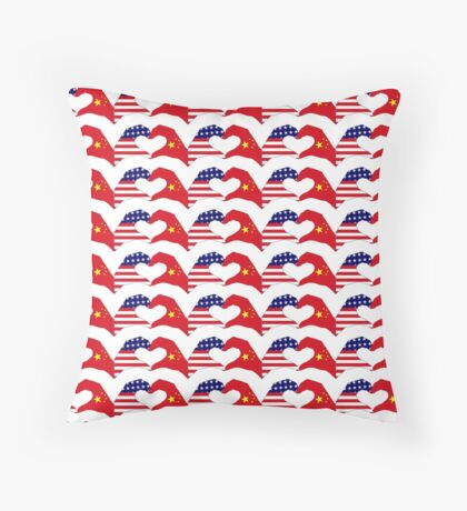 We Heart U.S.A. and China Patriot Flag Series Throw Pillow