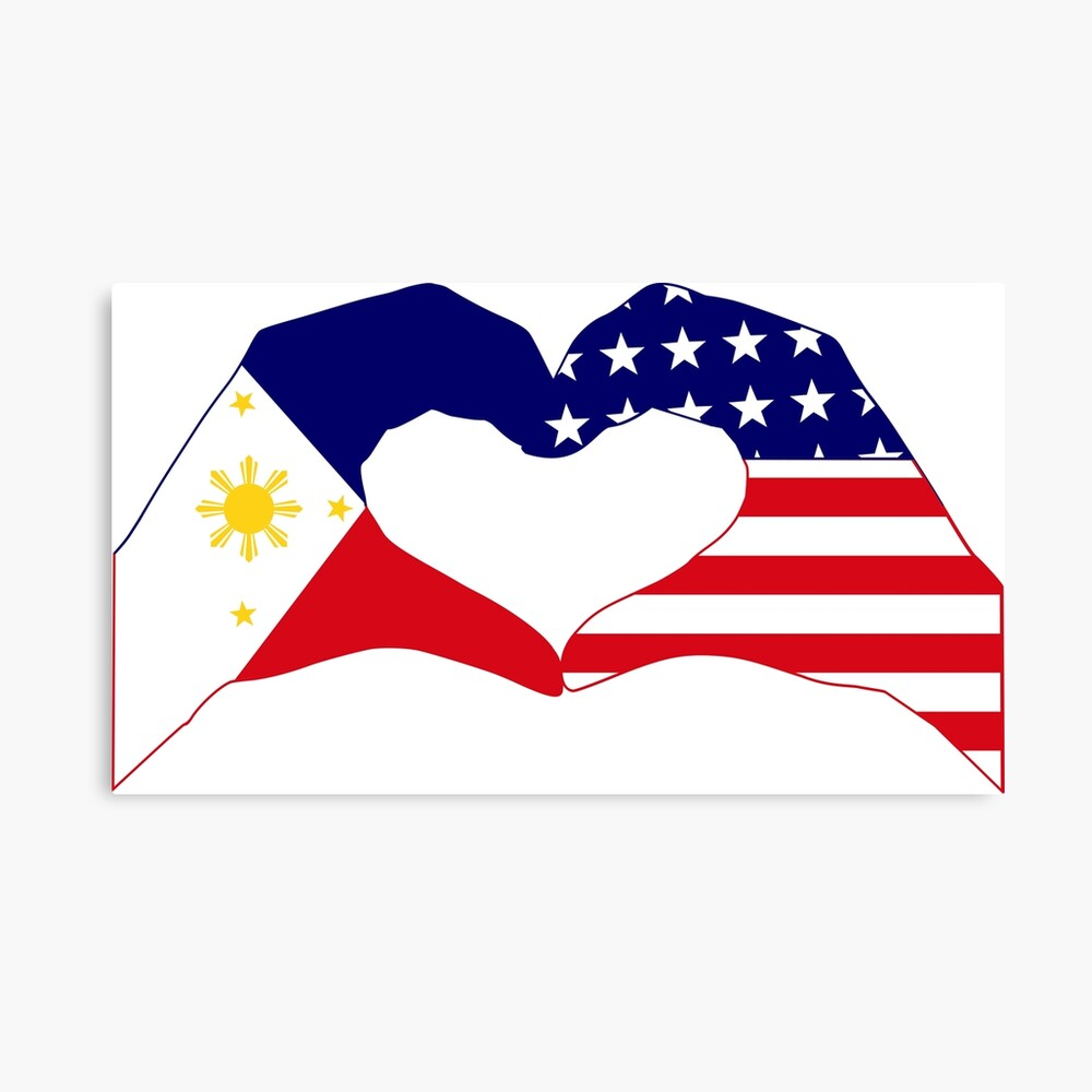 We Heart Philippines & U.S.A. Patriot Flag Series Canvas Print