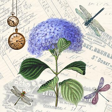 Blue Flower on Vintage Writing Background with Dragonflies and Watches by critterville