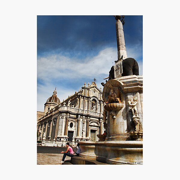 The Cathedral and the elephant: the two symbols of Catania Photographic Print