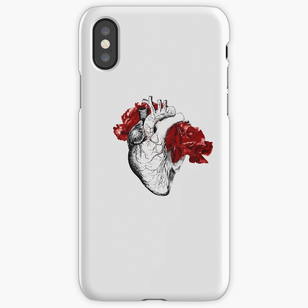 Anatomical Heart With Red Flowers iPhone Case & Cover