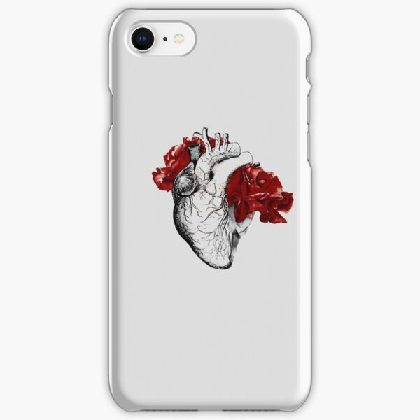 Anatomical Heart With Red Flowers iPhone Snap Case