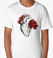 Anatomical Heart With Red Flowers Long T-Shirt
