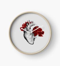 Anatomical Heart With Red Flowers Clock