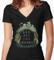 get off the internet Women's Fitted V-Neck T-Shirt