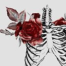 Skeleton Ribcage with Red Floral Blooms by kaespo