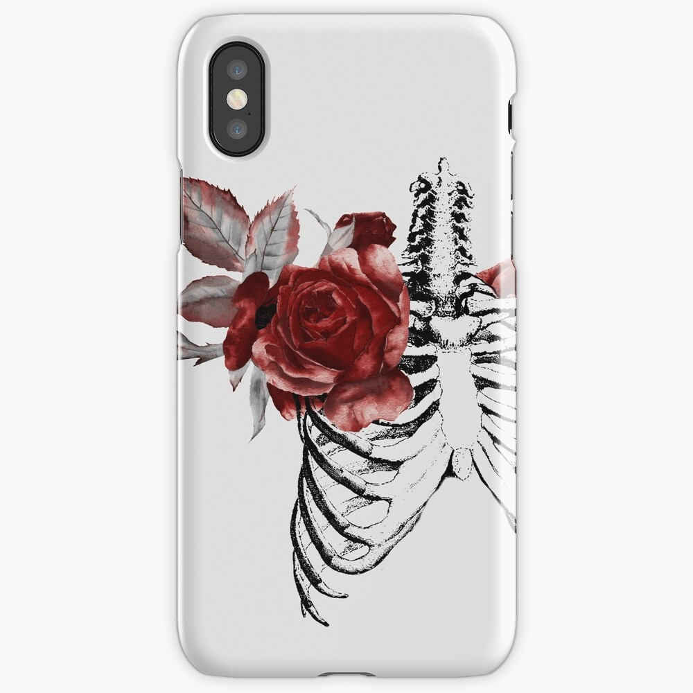 Skeleton Ribcage with Red Floral Blooms iPhone Case & Cover