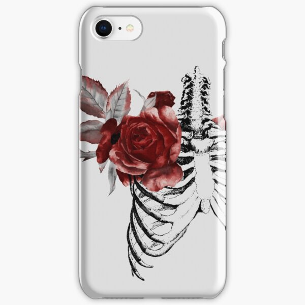Skeleton Ribcage with Red Floral Blooms iPhone Snap Case