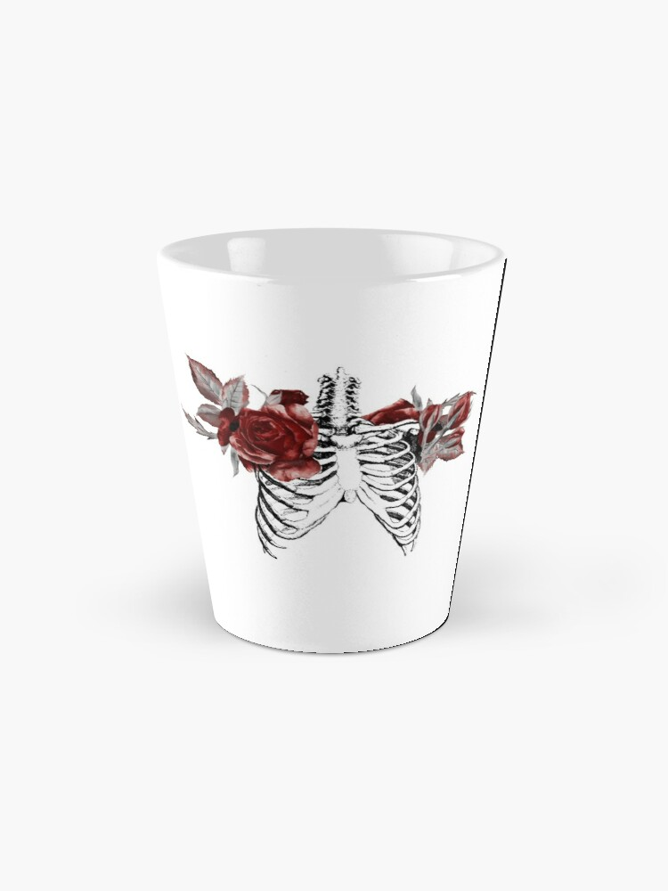 Alternate view of Skeleton Ribcage with Red Floral Blooms Mug
