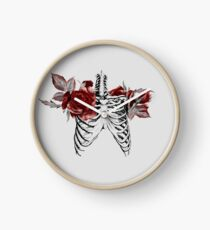 Skeleton Ribcage with Red Floral Blooms Clock
