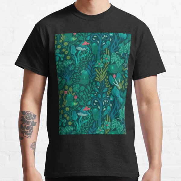 Emerald forest keepers. Fairy woodland creatures. Tree, plants and mushrooms Classic T-Shirt