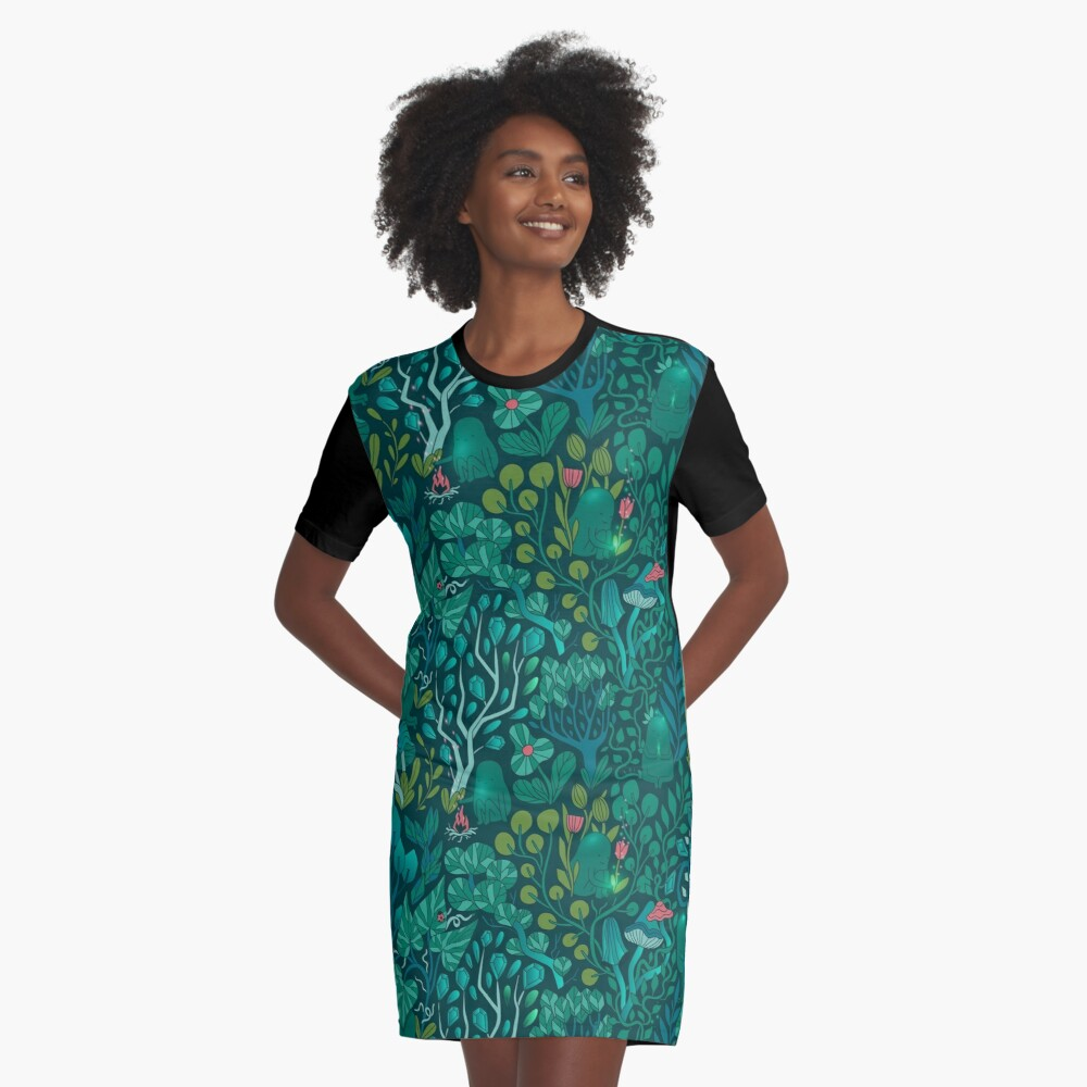 Emerald forest keepers. Fairy woodland creatures. Tree, plants and mushrooms Graphic T-Shirt Dress
