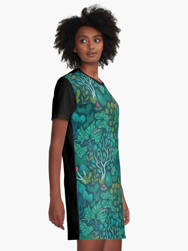 Alternate view of Emerald forest keepers. Fairy woodland creatures. Tree, plants and mushrooms Graphic T-Shirt Dress